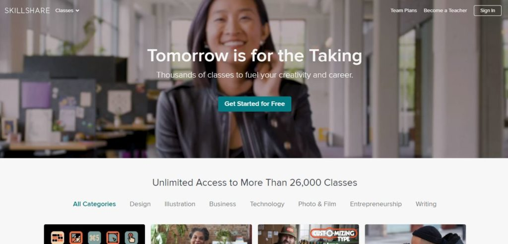 skillshare - alternative to Udemy