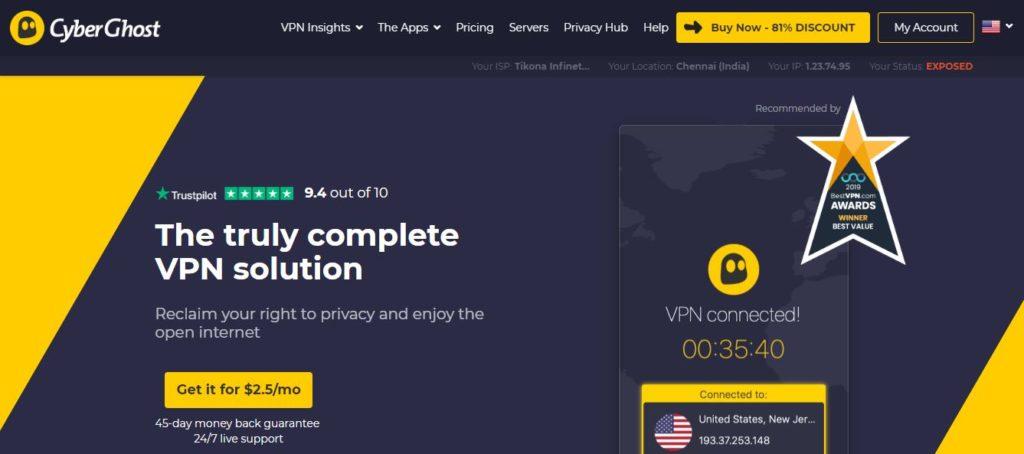 CyberGhost VPN for Kodi Streaming